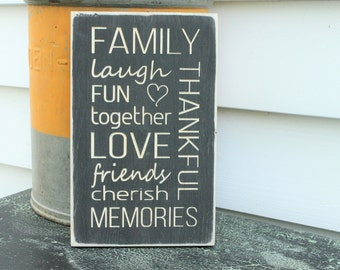Small FAMILY Memories Carved Wooden Subway Sign - 8x12 Gift Sign - You Choose Color