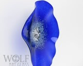 MADE TO ORDER Glass Wall Art Sapphire Blue Poppy Flower Wall Decor Art Glass Sculpture