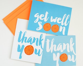 SPRING Cleaning Sale - set of 6 various occasion greeting cards, Thank you, Get Well