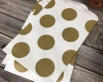 Set of 50  - Gold Shimmer Dot Pattern on White Kraft Merchandise Paper Bags - 5 x 7
