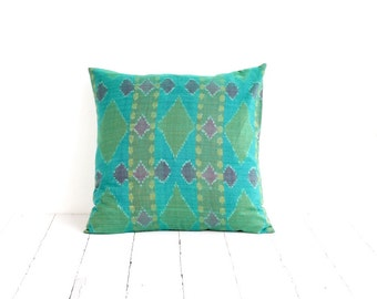 Indonesian Ikat, Pillow, Cushion, Hand Woven, Hand Dyed, Teal
