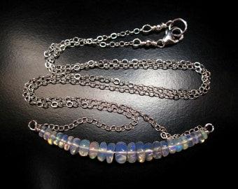 Ethiopian Opal Necklace, Sterling Silver, Opal Necklace, Opal Jewelry, Opal Bar Pendant, Minimalist Necklace, Graduated Opal Necklace
