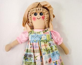 Plastic Bag Holder Doll, Pastel Garden,Inspirational Saying, Floral Print,Grocery Bag Holder, Country Decor, Kitchen Storage, Rustic Kitchen