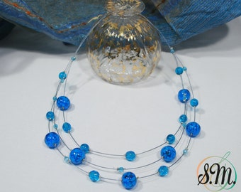 Murano glass Necklace  Aquamarine color