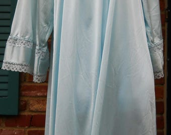 Ladies Long Night Gown Blue Lace trimmed small-medium