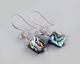 Abalone Jewelry, Paua Shell Earrings, Cute Earrings, Nickel Free Earrings, Abalone Shell Jewelry, Silver Drop Earrings, Square Earrings