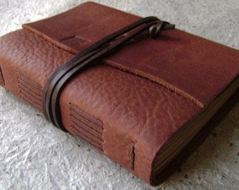 "Handmade leather journal, 4"" x 6"", rustic brown journal, old world journal,(2203)"