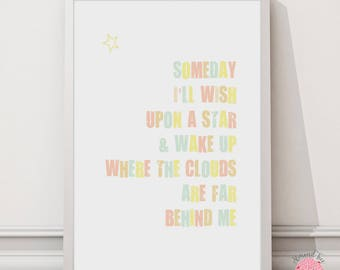 Someday I'll wish upon a star - 8 by 10 inch wall art print