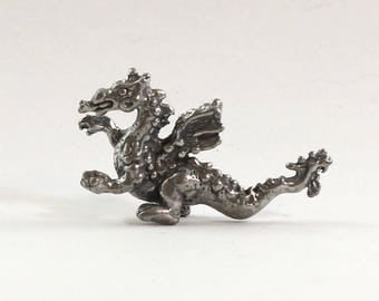 Dragon Pewter Figurine Vintage Collectible Miniature