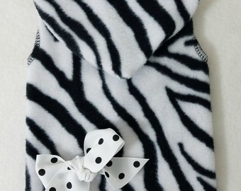 Black and White Zebra Sleeveless Cuddle Hoodie Dog Clothes Size XXXS through Medium by Doogie Couture