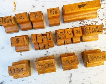 Vintage rubber stamp collection, industrial, office decor, instant collection, punctuation, wooden stamps