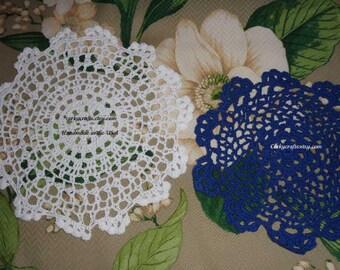 Handmade Crochet doily white 10 inch or blue 8 inch doily