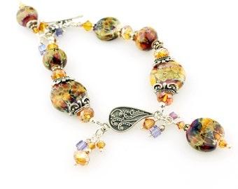Lampwork Bracelet Sterling Silver Purple Gold, Beaded Jewelry 'Autumn Fire'