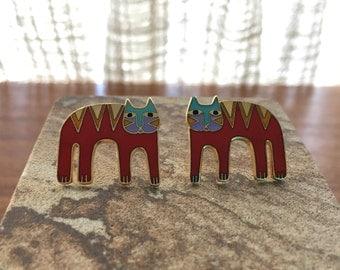 Vintage Laurel Burch Red Cat Post Earrings