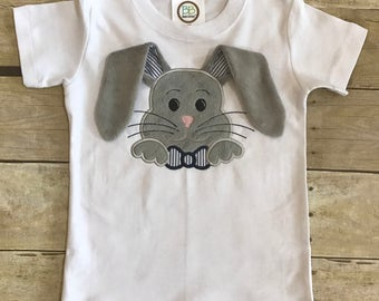 Floppy eared bunny short sleeved shirt with name embroidered.