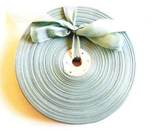 Vintage French Woven Ribbon -Milliners Stock- 5/8 inch 1930's-40's Sea Green