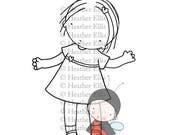 PI 084 instant download digital stamp, clip art, kite, girl, cute