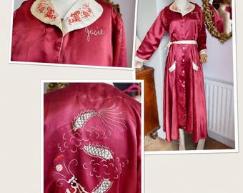 1940's Satin House Robe Embroidered name Josie