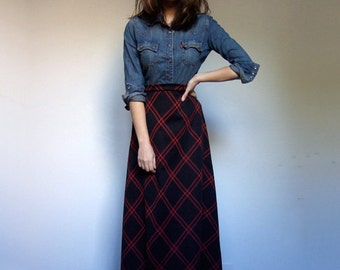 Vintage Maxi Skirt 70s Long Checkered Skirt Black Red Floor Length Plaid Skirt - Large L