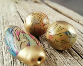 Gold Capped Scribed Polymer Clay Beads