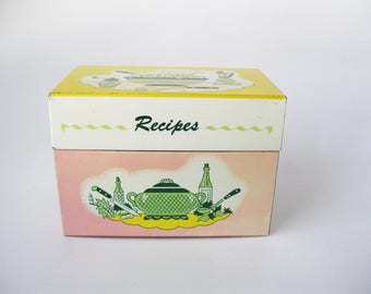 Vintage Metal Recipe Box, Shabby Chic Pink and Yellow