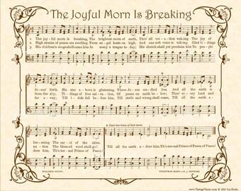 The JOYFUL MORN Is BREAKING - Vintage Verses Sheet Music - Custom Christian Home Decor - Hymn Wall Art - Inspirational Wall Art- Sepia Brown
