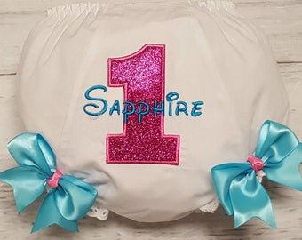 Hot Pink Sparkle & Turquoise Birthday Applique Personalized Diaper Cover Infant Toddler Bloomers 1st 2nd 3rd 4th Birthday Bloomers
