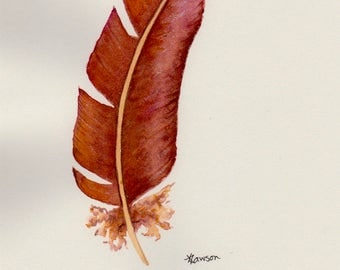 Watercolour feather painting ~ bronze fantasy feather