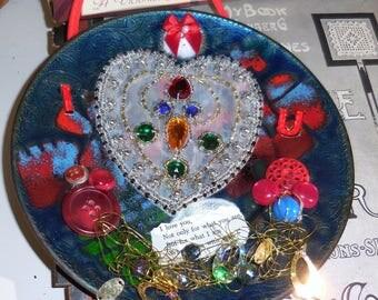 I Love U Really I Do  Embellished Enamel Plate / Israeli Art Plate Upcycled With Sweet Poetry