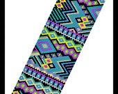 BP-PEY-140-2017-039 - Fiesta - Peyote PATTERN, beadweaving pattern, Peyote Bracelet Pattern, beaded bracelet, bracelet pattern, jewelry