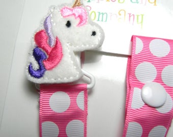 Pacifier holder, pacifier clip, unicorn pacifier clip, unicorn baby gift, unicorn binky clip, binky holder, baby shower gift, paci clip