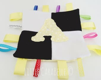 Handmade black and white squares or stripes personalised ribbon baby comforter blanket in soft fleece with any colour initial. New baby gift