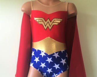 Wonder Woman Inspired Costume. Wonder Woman Leotard, Cape, and Accessories. Toddlers Girls Wonder Woman Halloween Costume. Size 2T--Girls 12