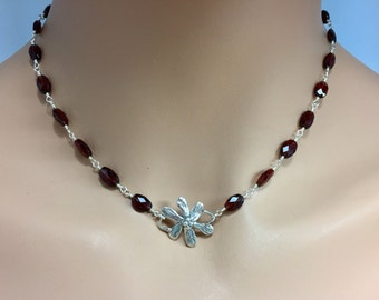 Garnet Necklace with Sterling Silver Flower