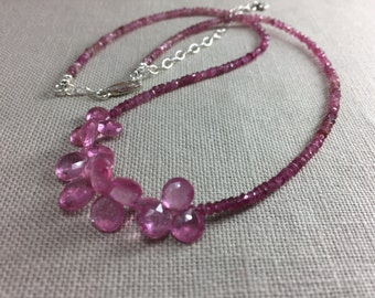 Pink Tourmaline Necklace with Pink Sapphire Briolettes in Sterling Silver