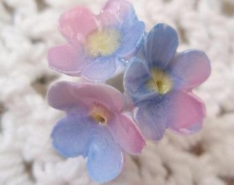 Vintage Porcelain Flower Stick Pin Blue Lavender Forget Me Nots 1950's English Charm