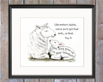 Baby Lamb Bible Verse art print, scripture design, hand lettered typography, wall art decor