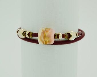 Leather Beaded Bracelet, Leather Bracelet, Boro Bead, Pink Bead Bracelet, Handmade Jewelry, Woman's Bracelet, Fashion Jewelry, large #38