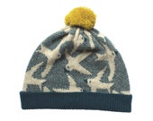 Knitted Lambswool Flying Birds Hat