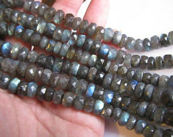 Large Labradorite faceted rondelles, full 13 inch strand, 7.5-11.5mm (w142)