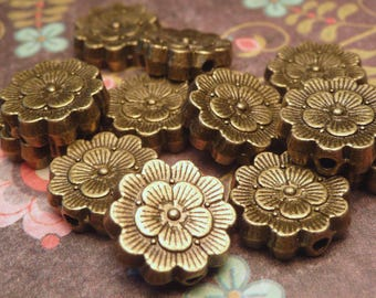 Antiqued Bronze Flower Beads 11mm - 6pc