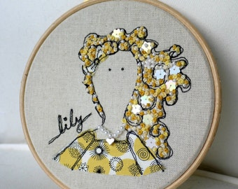 Meet Lily, Framed Freehand Embroidered by Lillyblossom with Frenchknots, beads and sequins