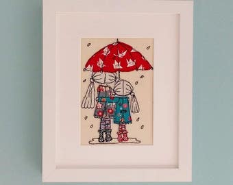 Handmade 'Singing in the Rain' embroidered picture by Lillyblossom. Sisters or Best Friends sharing an umbrella. Birthday gift MADE TO ORDER