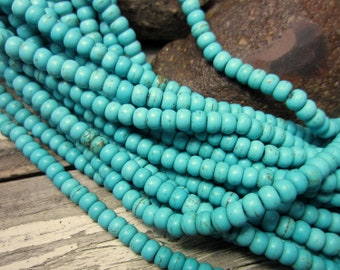 Turquoise beads 6mm x 4mm howlite gemstone rondelles turquoise howlite beads DIY bead supply HPG109(A1A4)
