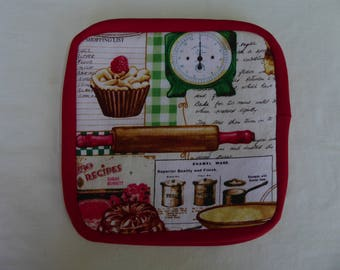 Pot holders, red, retro, kitchen tools