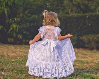 Flower Girl Dress-White or Ivory Lace Short Sleeve Dress-Baby Flower Girl Dress- Dresses-Ivory Girls Dress-Cream Dress- Rustic Wedding Dress