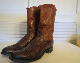 vintage Butterscotch Leather and Skin Riding Boots by Justin Boots - size 6 1/2 D (mens) or 8 medium (womens)