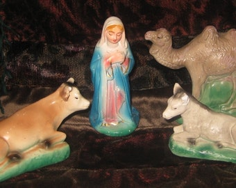 Vintage Chalkware Nativity Figures, Mary, Cow, Camel, and Donkey