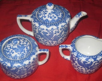Vintage Blue and White Phoenix Bird, Flying Turkey Toy Tea Set, with Larger, Extra Sugar Dish Included