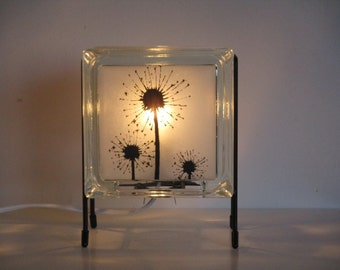 dandelion accent lamp free shipping upcycled handmade glass block night light eco friendly dandelion lamp - Lamp For Kitchen Counter